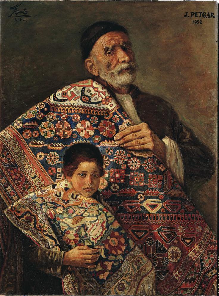 Carpet Vendors - Oil Painting(70X94cm) - By Jafar Petgar - Iranian Artist - 1952