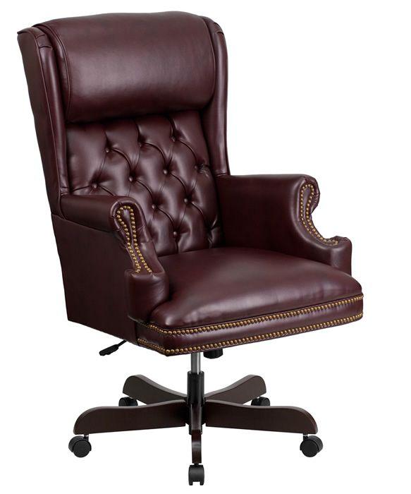 BTOD CIJ600 Nail Head Traditional Leather Office Chair