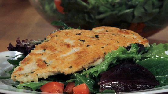 Parmesan Chicken with Tomato-Basil Salad (Chef Meg's Makeover) Recipe