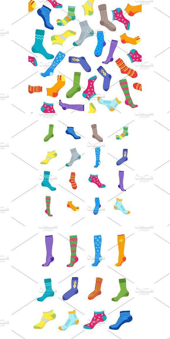 Colorful Fun Socks Set  Vector   Cold Design   Cool socks