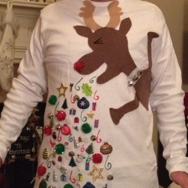 "Ugly Christmas Sweater""...glued on felt, Christmas ... | DIY Christm ..."