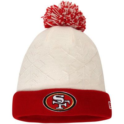 Women's San Francisco 49ers New Era White/Scarlet Snow Crown Cuffed Knit Hat