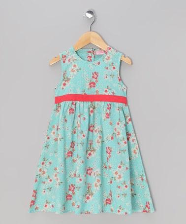 Aqua & Red Babydoll Dress - Toddler & Girls by Sweet Elegance on #zulily