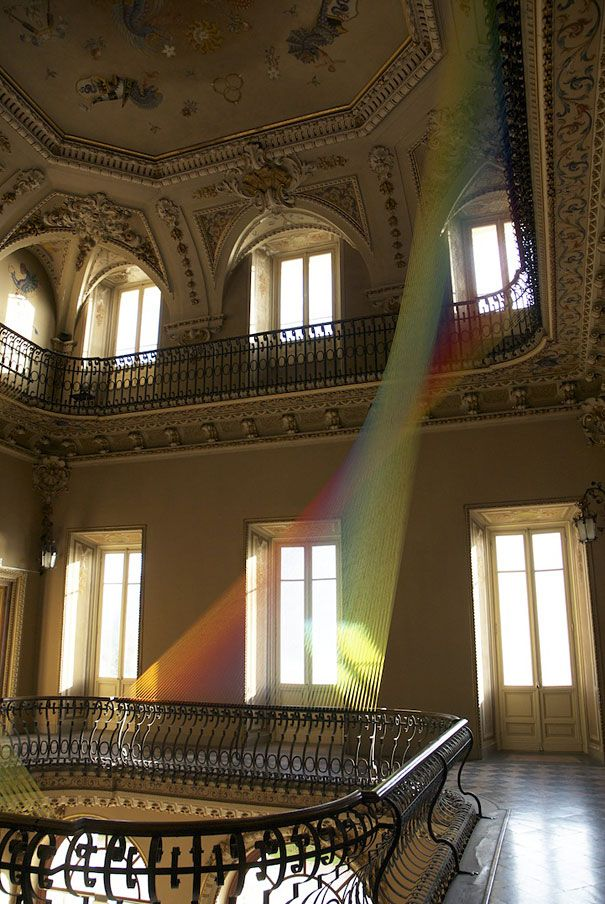Stunning Rainbow Thread Installation by Gabriel Dawe