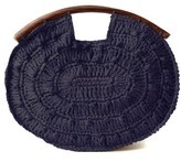 mar y sol navy juliette raffia clutch