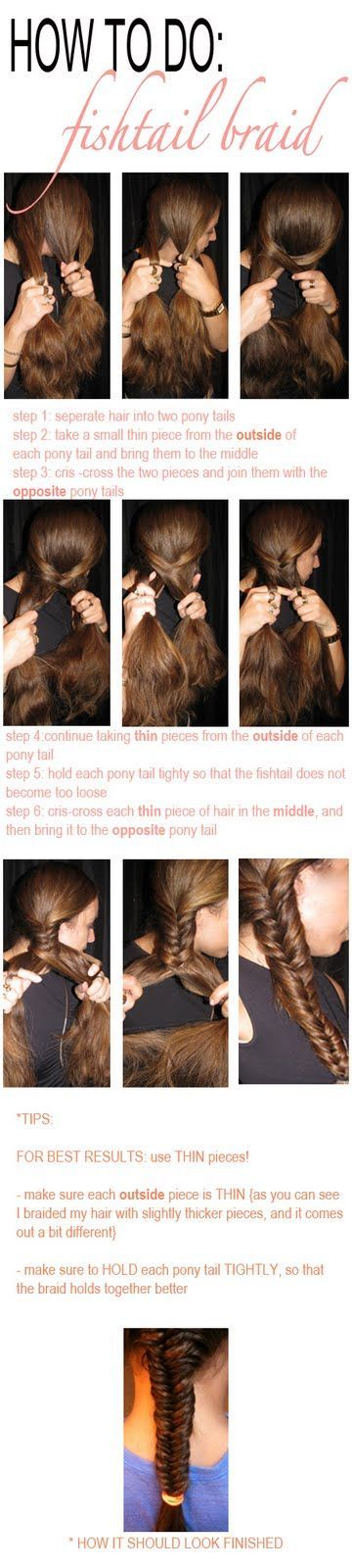 fish tail braid - diy for when I actually have enough hair to braid.
