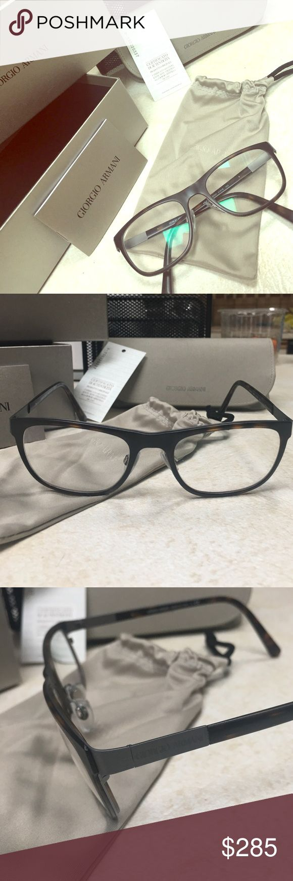 ☘️Shamrock Sale!!!!☘️Giorgio Armani Prescr Glasses Never worn, comes with original case, pouch, box, certificate of authenticity. Made in Italy. Style AR5012. Purchased at Cohens Optical in Freehold, NJ. Color is a matte brown tortoise front with some small detailing of brushed gunmetal on the sides. Reads Giorgio Armani on both temples. Prescription is -.25 for both eyes. Lenses are removable of course so that you can add your own to suit. Purchased two pair on the same day & just don't…