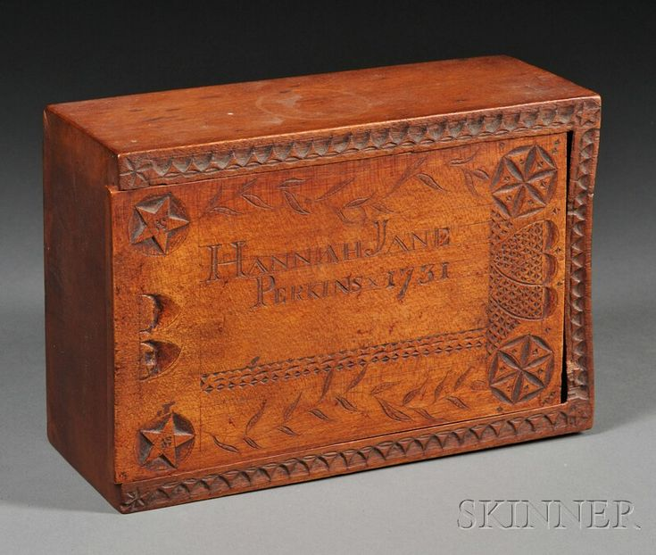 "Carved Birch Box, probably Pennsylvania, 18th century, the box made from one piece of wood, with sliding lid inscribed with the name ""Hannah Jane Perkins 1731,"" bordered by carved pinwheels, stars, meandering vines, and conjoined hearts, ht. 3, wd. 8, dp. 5 1/2 in."