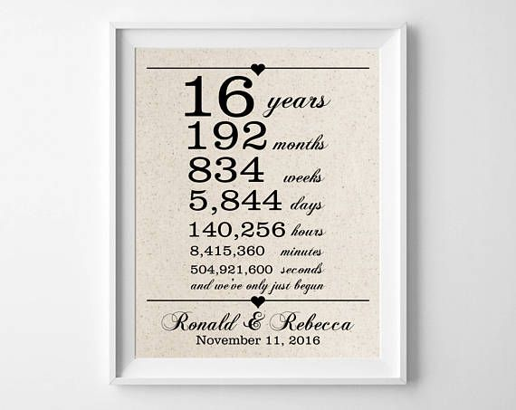 13th Wedding Anniversary Gift Ideas For Him: 16 Years Together 16th Anniversary Gift For Husband Wife