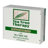 Tea Tree Therapy, Suppositories, with Tea Tree Oil, for Vaginal Hygiene, 6 Suppositories For vaginal hygiene insert one suppository daily for six consecutive days. Suppositories may be used morning and night for up to 12 days in severe cases. For maximum effect, douche using 1 part Tea Tree Therapy 15% Water Soluble Tea Tree Oil to 7 parts water prior to inserting suppository. May be repeated every other day for 6 days.