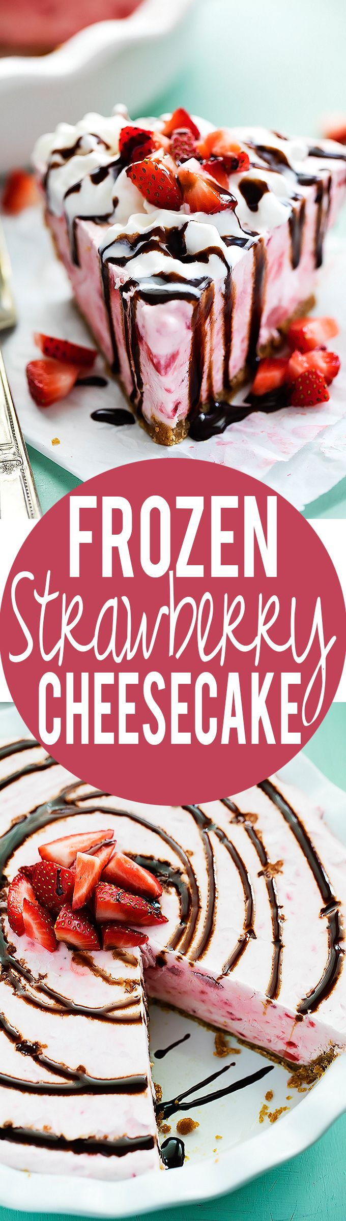Frozen Strawberry Cheesecake | Creme de la Crumb