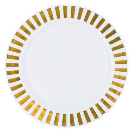 Casino White Gold Plastic Dinner Plates from smartyhadaparty.com