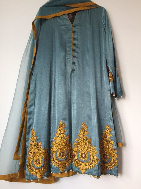 Sale-Grey shamos silk shalwar kameez with gold by IrmaDesign