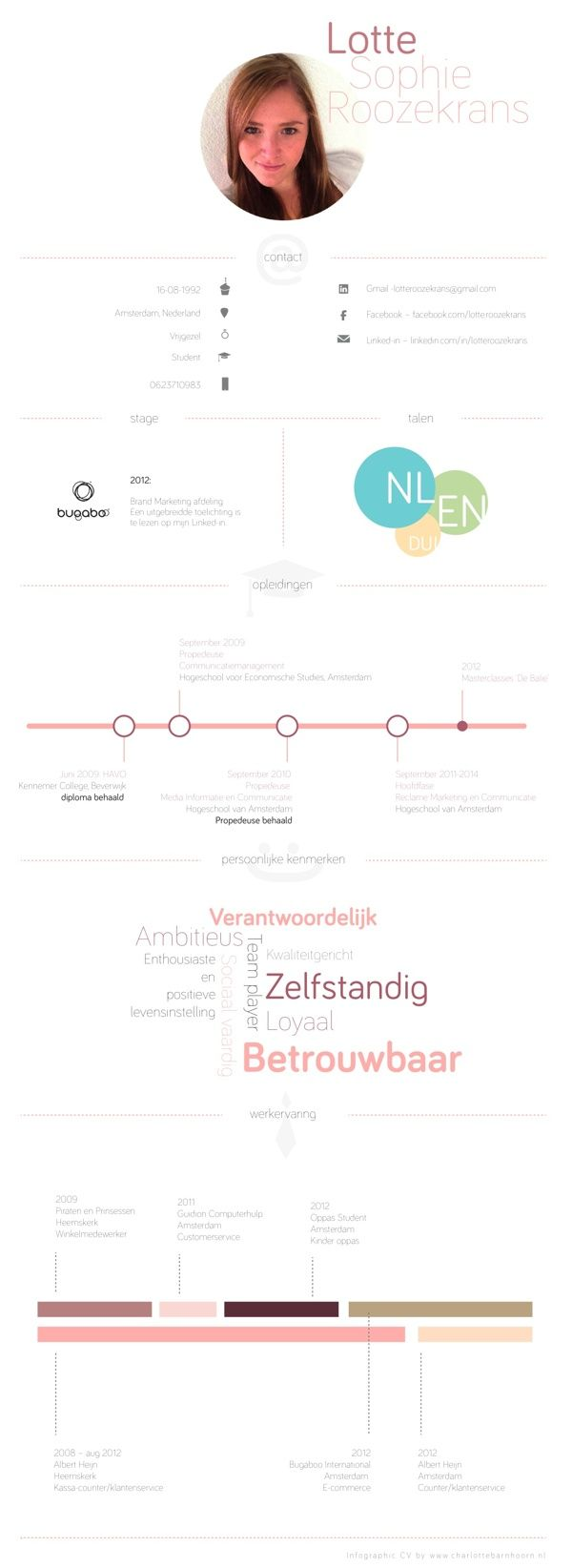 Infographic resume by Lotte Sophie Roozekrans, via Behance