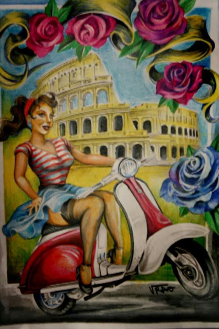 Disegno Roma pin up vespa