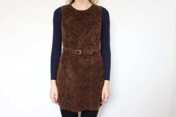 Brown Corduroy Jumper Dress Short Brown Jumper Sarafan Belted Womens Bib Overalls Dress Small Size Label size: 10 Materials: 85% Cotton 15%