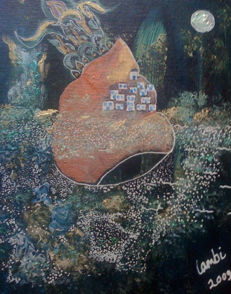 Acrylics and pen and ink on canvas board. A present for a friend. Inspired by Ios island, Greece