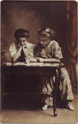 CARDSHARK Online™ Blog: Vintage Postcard of Two Young Ladies Playing Cards