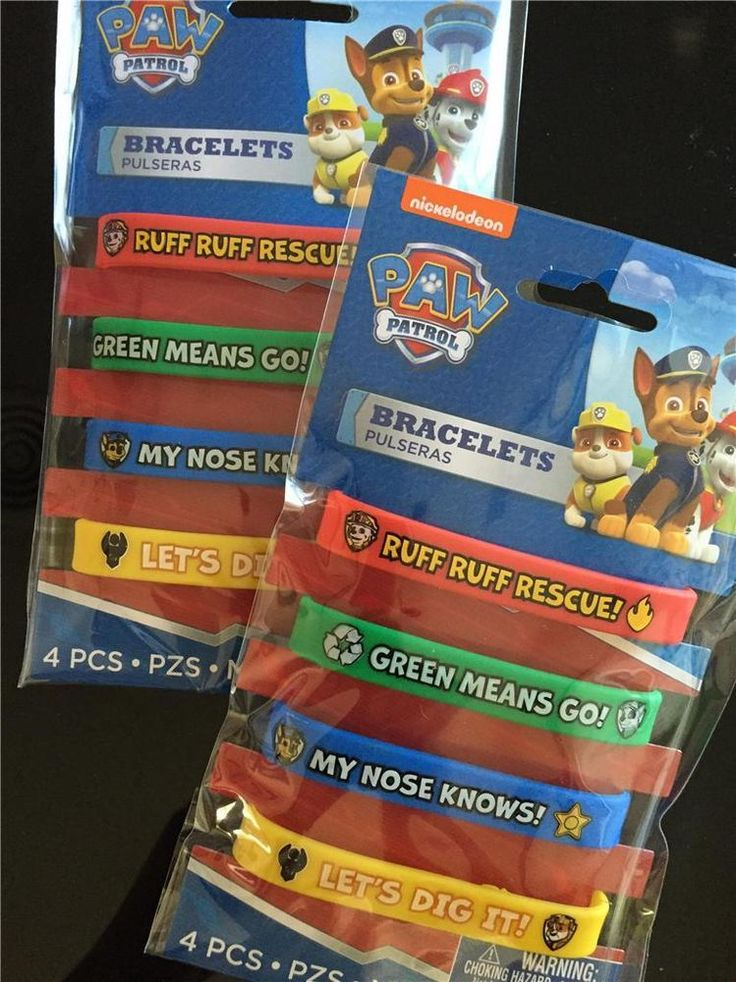 ** Lot of 8 ** PAW PATROL Rubber Bracelet party loot bag fillers favors prizes