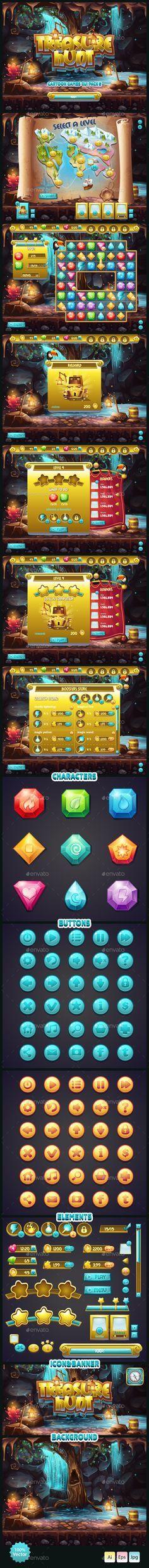 GUI Treasure Hunt - User Interfaces #Game #Assets   Download http://graphicriver.net/item/gui-treasure-hunt/10638211?ref=sinzo