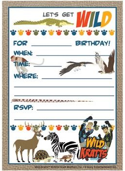PBS Kids.org Wild Kratts Invitation used for daughter's birthday party from NeatOnTheInside.com.
