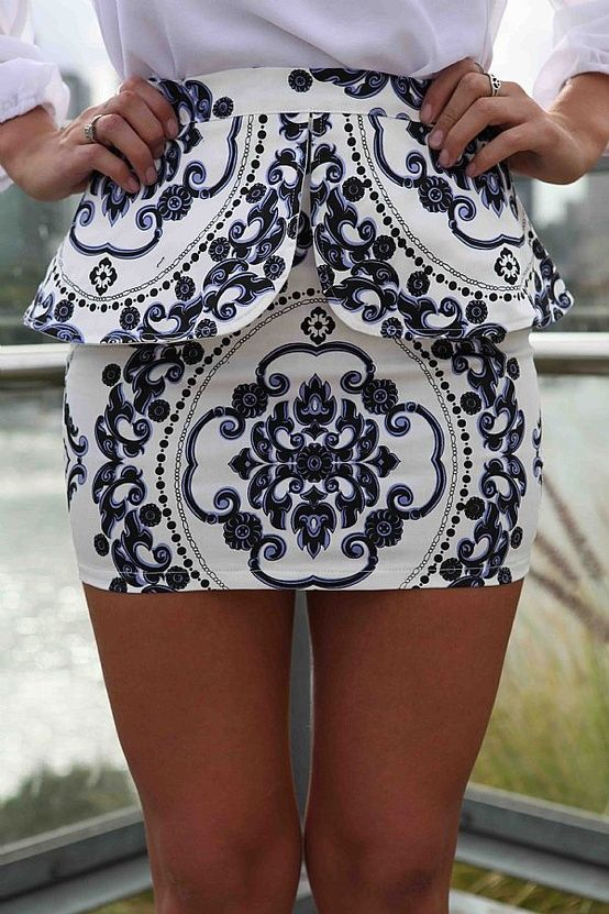 : Minis Skirts, Patterns, White Peplum, Style, Blue, Clothing, Prints Skirts, Closet, Peplum Skirts