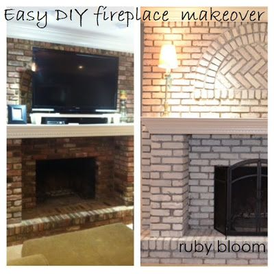 HOW TO WHITEWASH BRICK: Super easy and cheap... or free if you already have the paint like I did! Paint brick fireplace, whitewashed brick fireplace, DIY painted brick fireplace, by ruby bloom http://rubybloomblog.blogspot.com