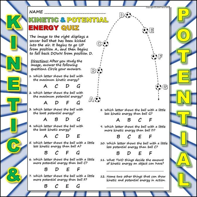 This Is A Short Quiz Worksheet To Check For Student S Understanding Of Kinetic And Potential Energ Potential Energy Kinetic And Potential Energy Kinetic Energy Potential vs kinetic energy worksheet
