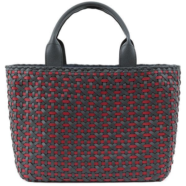 Serpui Marie Jessica Grey And Red Leather Woven Tote ($238) ❤ liked on Polyvore featuring bags, handbags, tote bags, red, tote handbags, red tote, leather handbag tote, gray leather tote and red leather handbag