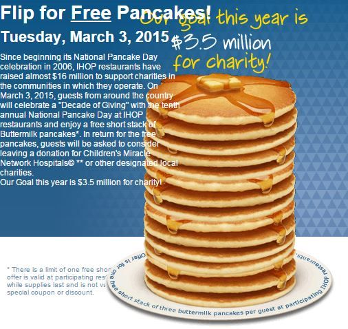 Free Pancakes At IHOP 3/3/15