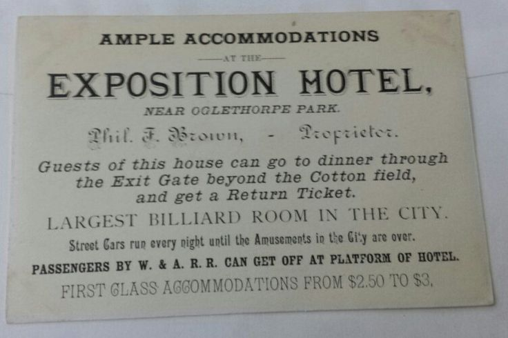 Trade Card for the Exposition Hotel at the Atlanta 1881 International Cotton Exposition. From the J. Fred Rodriguez Atlanta Collection.