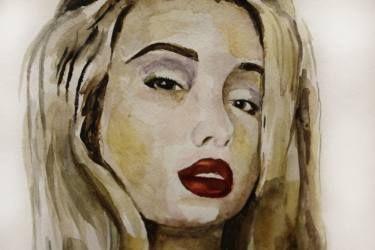 Art, watercilir portrait blonde girl with red lips #art #painting #watercolor #portrait #blonde #redlips #lips #passion #print #teslimovka #sigth #акварель #рисунок #живопись #блондинка #краснаяпомада #губы #взгляд