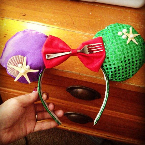Little Mermaid Inspired Mickey Ears on Etsy, $20.00 how cute when we go to Disney world and she wears these!