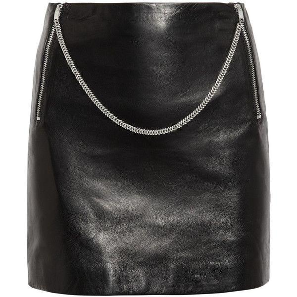 Saint Laurent Chain-trimmed leather mini skirt ($2,690) via Polyvore