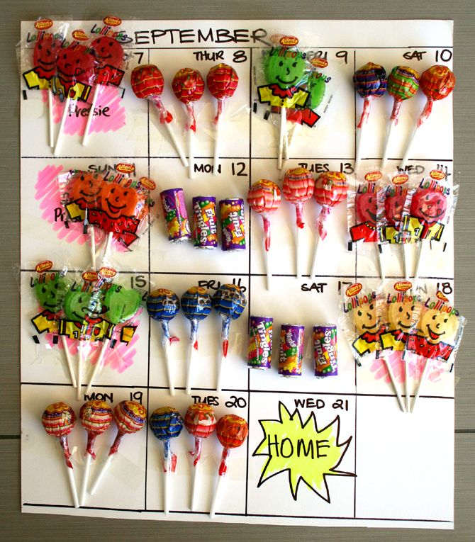 I adore this idea from Nic Howard. When you travel, leave a visual countdown (with candy) for your kids. When the candy is gone, mom is home!