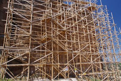 Midas City - The facadeof Midas' monument as it looks now, completely covered  by modern scaffolding - (Photo by Author)