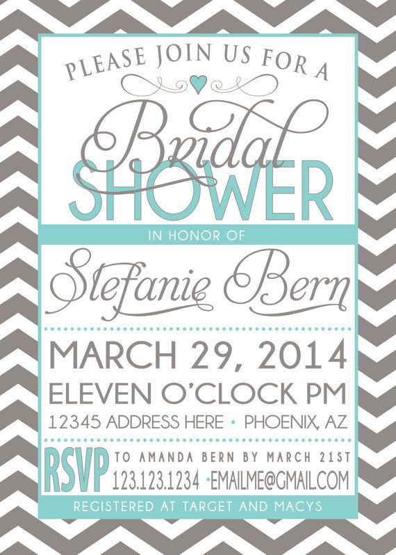 BRIDAL SHOWER INVITATION tiffany blue and grey by SLDESIGNTEAM