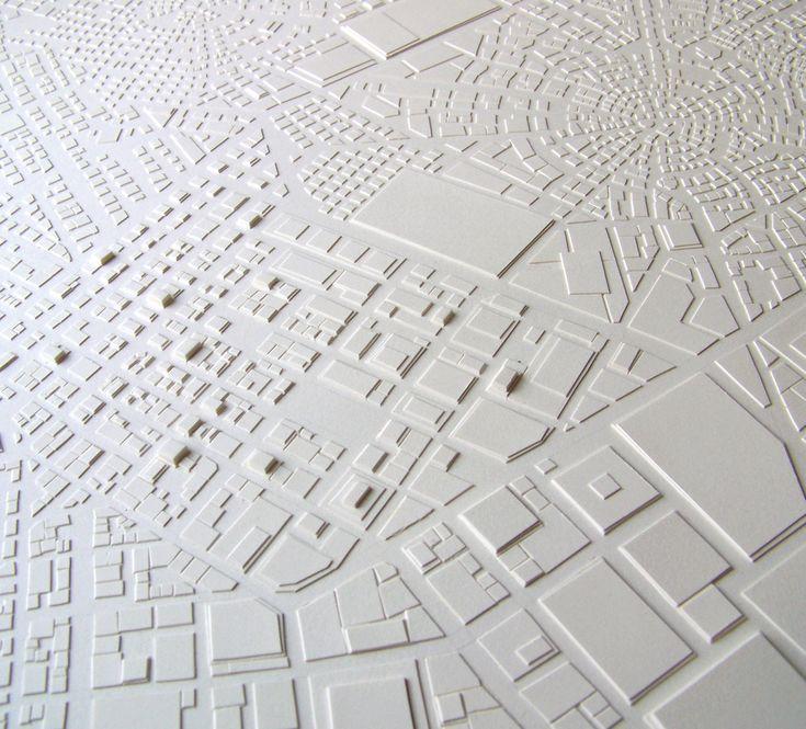 Stephanie Beck, Detail, Townships, cut paper, glue, 12 x 12 in., 2008