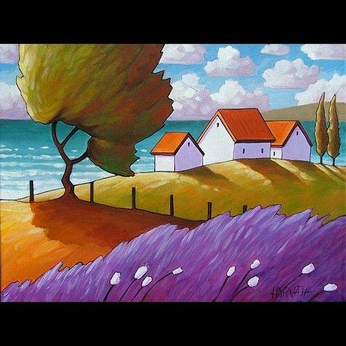 12x16 Lavender Sea ORIGINAL FOLK ART MODERN LANDSCAPE CANVAS PAINTING Horvath NR