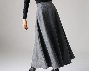 grey skirt skater skirt mini skirt winter skirt wool by xiaolizi