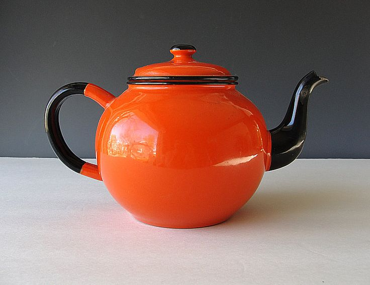 French Enamelware Teapot Vintage Orange and Black Enamel Tea Pot Coffee Pot Kettle Shabby Cottage Chic Country Farmhouse