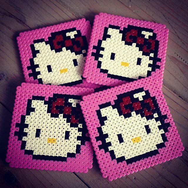 Hello Kitty coasters hama beads by thetattooedcookie