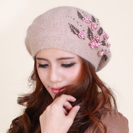 Elegant Ladies rabbit fur hat with beaded flower knit beret hat