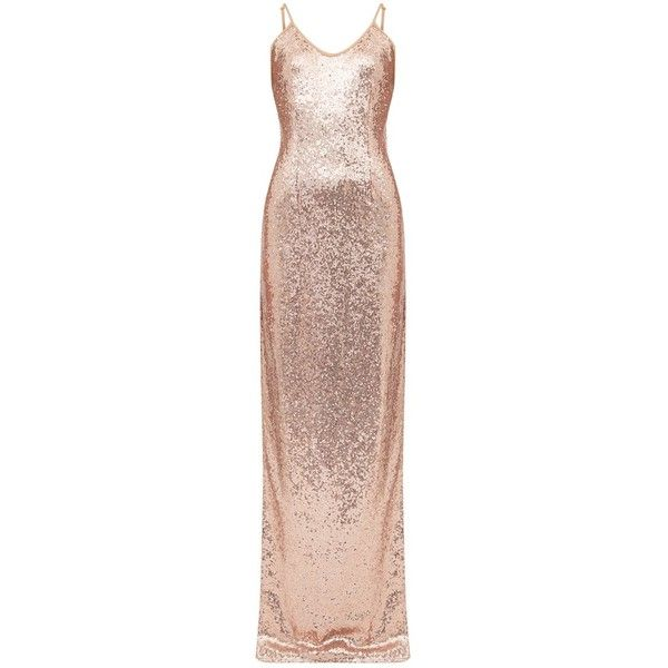 Petite Rose Gold Side Split Sequin Maxi Dress ❤ liked on Polyvore featuring dresses, rose gold sequin dress, pink gold dress, sequin embellished dress, petite maxi dresses and petite length maxi dresses
