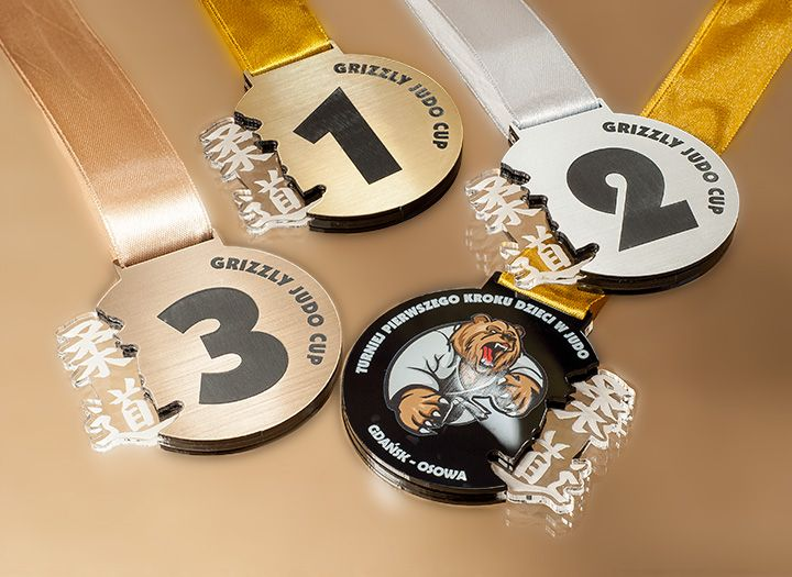 Medals for judo competitions. Medal with gold, silver or brown laminate…