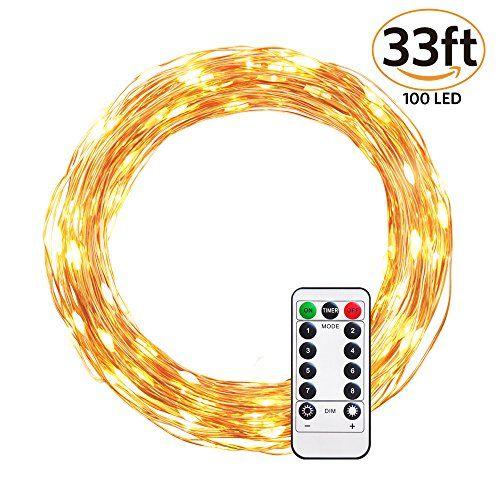 Ulwae Guirlande Lumineuse 10m 100 LED Alimenté Par Batterie Avec Télécommande Fil Cuivre Pour Arbre De Noel: Ampoules LED blanc chaud : 100…