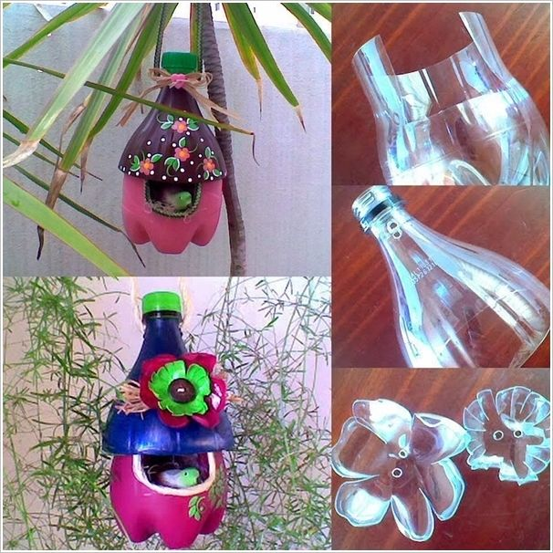 This is How Plastic Bottles Became Wonderful Bird Houses.     Casa de pajaro echa de botella plastica