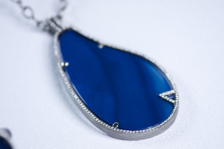"Mare Blu Pendant Blue Agate gemstone Sterling silver textured rolo necklace Antique finish, 24""L 150 round brilliant diamonds micro pave set; 0.80 tcw"