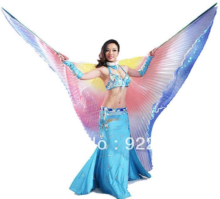 2015 egypt professional belly dance costumes egyptian performing dresses vestidos isis wings gradient colors no - Dancing Pictures To Colour