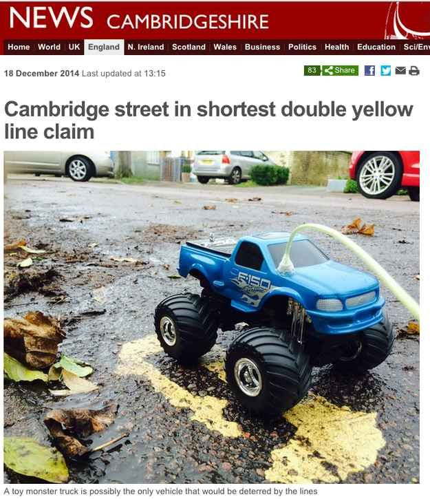 It was claimed that a street in Cambridge has the shortest double yellow lines in England, at just 28cm.